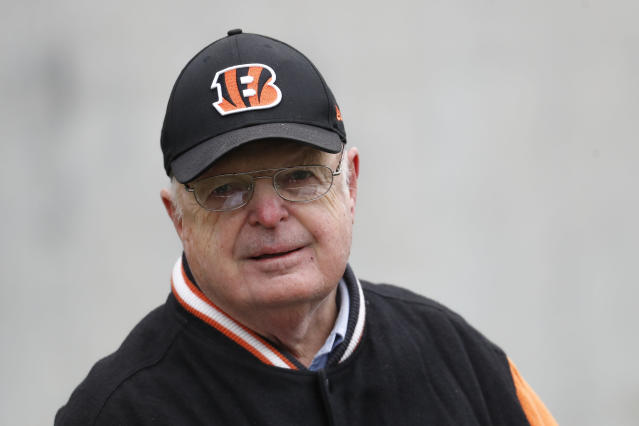 Cincinnati Bengals NFL football team owner Mike Brown watches practice during pre-draft workouts with local players from the surrounding region, Tuesday, April 17, 2018, in Cincinnati. (AP Photo/John Minchillo)