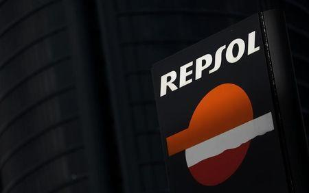 The logo of Spanish energy company Repsol is seen outside a gas station in Madrid