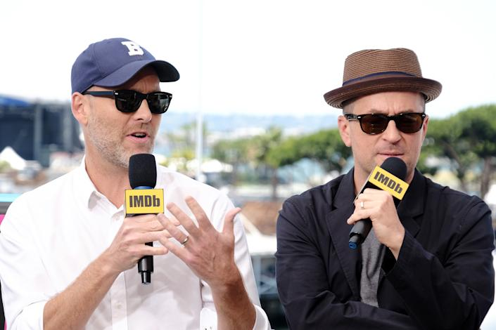 SAN DIEGO, CALIFORNIA - JULY 20: Stephen McFeely and Christopher Markus speak onstage at the #IMDboat at San Diego Comic-Con 2019: Day Three at the IMDb Yacht on July 20, 2019 in San Diego, California. (Photo by Tommaso Boddi/Getty Images for IMDb)