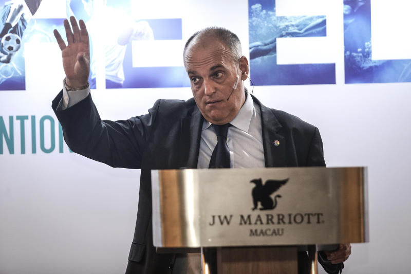MACAU - MARCH 06: The LaLiga President Javier Tebas makes a speech during SPORTELAisa of sport media and technology convention on March 6, 2019 in Macau, China. (Photo by Wang He/Getty Images)