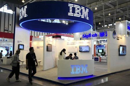 File photo of the IBM booth at the 9th China International Software Product & Information Service Expo in Nanjing, Jiangsu province September 6, 2013. REUTERS/China Daily