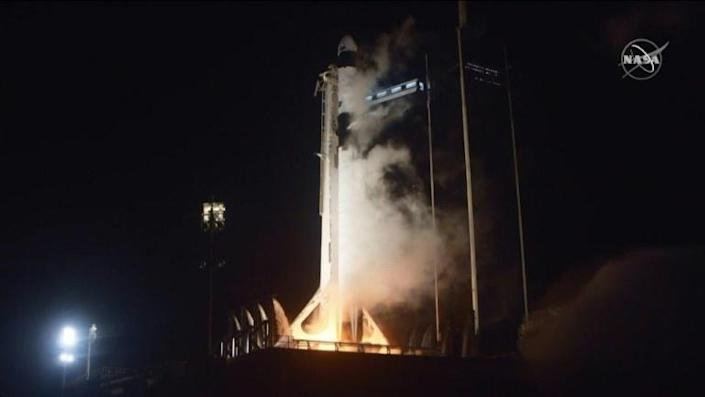 A SpaceX rocket successfully lifts off from Kennedy Space Center in Florida with four astronauts on board, bound for the International Space Station