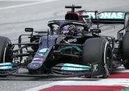 Mercedes driver Lewis Hamilton of Britain steers his car during the Austrian Formula One Grand Prix at the Red Bull Ring racetrack in Spielberg, Austria, Sunday, July 4, 2021. (AP Photo/Darko Bandic)
