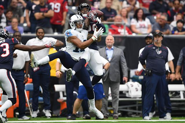 <p>Houston Texans free safety Andre Hal (29) intercepts a pass intended for Tennessee Titans wide receiver Rishard Matthews (18) during the second quarter at NRG Stadium. Mandatory Credit: Shanna Lockwood-USA TODAY Sports </p>
