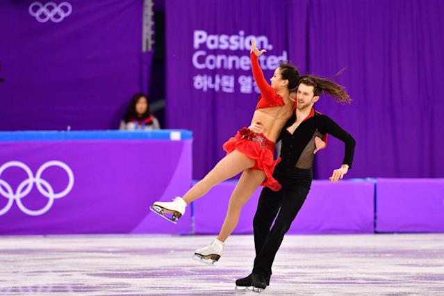 <p>South Korea's Yura Min and South Korea's Alexander Gamelin compete in the figure skating team event ice dance short dance during the Pyeongchang 2018 Winter Olympic Games at the Gangneung Ice Arena in Gangneung on February 11, 2018. / AFP PHOTO / Mladen ANTONOV </p>
