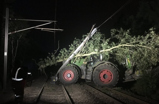 A tractor has caused damage to overhead wires and the tracks at Fitzwilliam in West Yorkshire