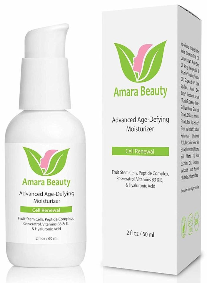 """<p>With 80 percent of its reviews being either four or five stars, Amara Organics' Age Defying Moisturizer has also earned the tag, """"Amazon's Choice."""" Some of the positive reviews attest to results over time like diminished wrinkles (like of the forehead's """"thinking line""""), <a href=""""https://www.realsimple.com/beauty-fashion/drew-barrymore-how-to-get-rid-of-dark-circles-under-eyes"""" target=""""_blank"""">reduction of under eye bags</a>, and more smooth and youthful-looking skin.</p> <p>Other pluses people note are that the moisturizer absorbs into skin easily and the product lasts for a long time, with one Amazon customer saying she didn't need another Age-Defying Moisturizer for six months.</p> <p><strong>To buy</strong>: $21; <a href=""""https://www.amazon.com/Amara-Organics-Moisturizer-Resveratrol-Peptides/dp/B00OC0DUNI/ref=as_li_ss_tl?_encoding=UTF8&s=beauty&linkCode=ll1&tag=rsbeauamazonantiagingproductsfisherc0519-20&linkId=5520b2867ba7c03c7a2564faef32168b&language=en_US"""" target=""""_blank"""">amazon.com</a>.</p>"""