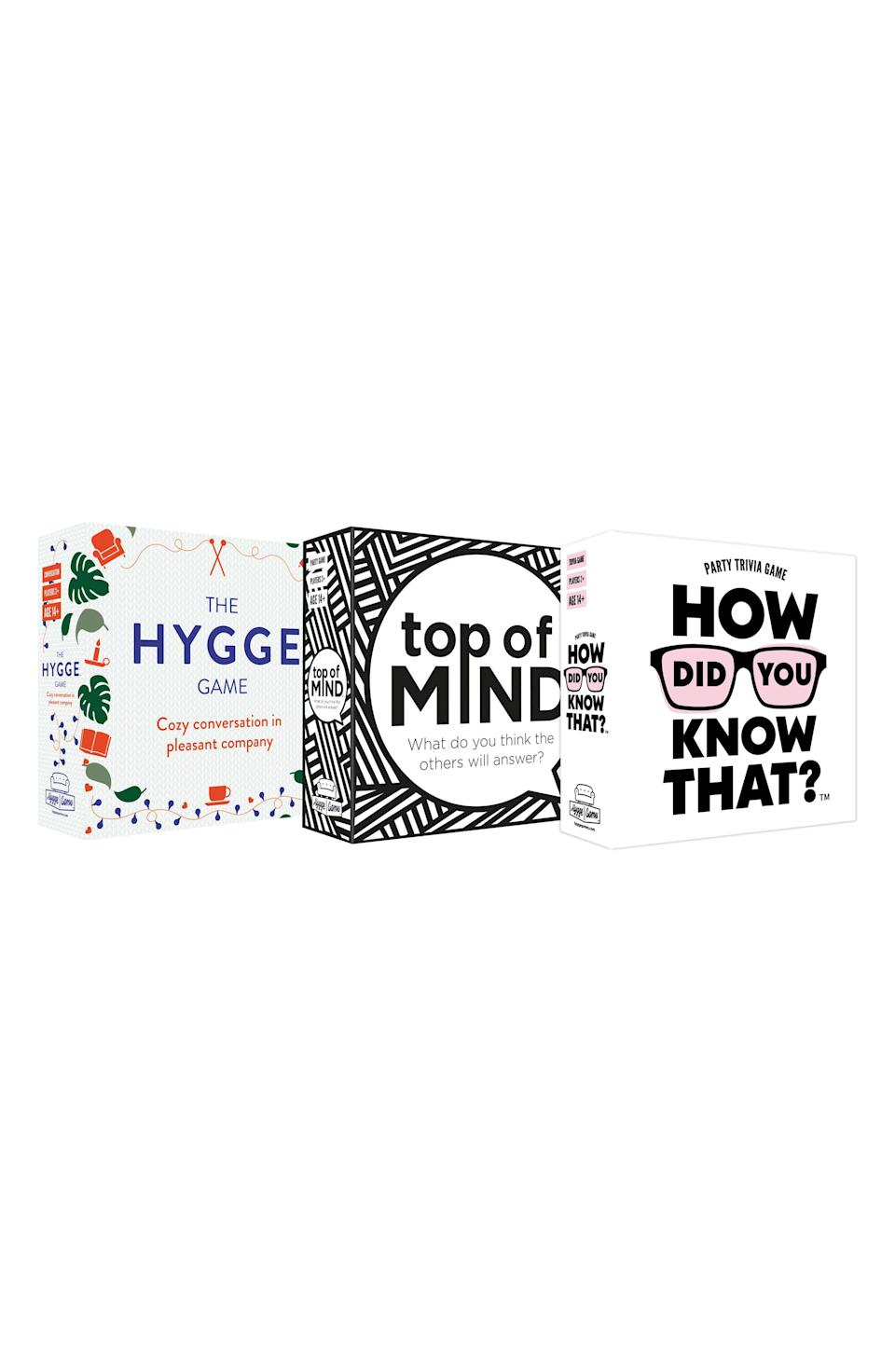 """<p><strong>Hygge Games</strong></p><p>nordstrom.com</p><p><strong>$50.00</strong></p><p><a href=""""https://go.redirectingat.com?id=74968X1596630&url=https%3A%2F%2Fwww.nordstrom.com%2Fs%2Fhyyge-games-set-of-3-games%2F5748628&sref=https%3A%2F%2Fwww.cosmopolitan.com%2Flifestyle%2Fg5199%2Flast-minute-gifts%2F"""" rel=""""nofollow noopener"""" target=""""_blank"""" data-ylk=""""slk:Shop Now"""" class=""""link rapid-noclick-resp"""">Shop Now</a></p><p>If he's spending a lottt of time with his roommates lately or Zooming with this friends, he could use this set of three different games to liven up the party. This trio includes a party trivia game, conversation starters, and a guessing game.</p>"""