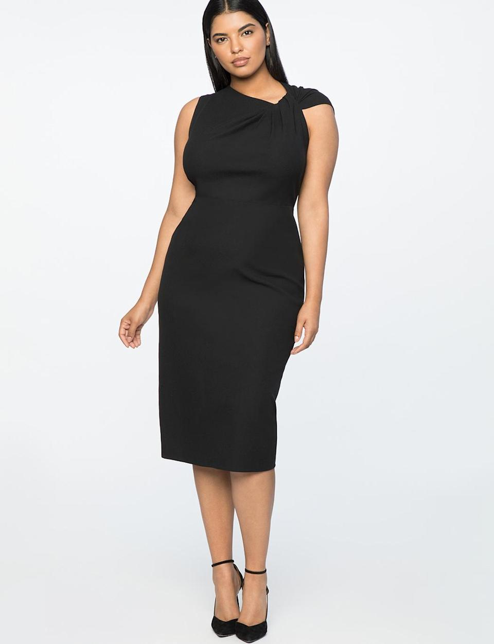 """<p>Similar to designs Wu has made for Meghan Markle in the past, this dress is classy with a chic subtle detail in a twisted shoulder. Add some jewels and sparkly heels for an instant holiday look. <br>Twist-shoulder sheath dress, $110, <a rel=""""nofollow noopener"""" href=""""https://fave.co/2zih6kv"""" target=""""_blank"""" data-ylk=""""slk:eloquii.com"""" class=""""link rapid-noclick-resp"""">eloquii.com</a> </p>"""