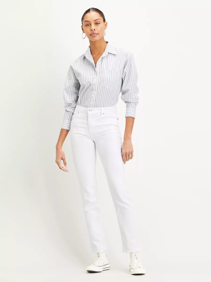 <p>White jeans are tricky. These <span>Levi's 724 High Rise Straight Jeans</span> ($90) are not. Get these, and thank us all summer long.</p>