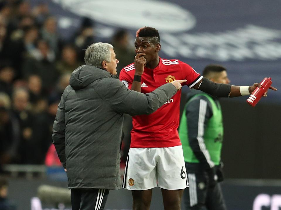 <p>Paul Pogba and Jose Mourinho speak on the touchline in 2018</p> (Getty Images)
