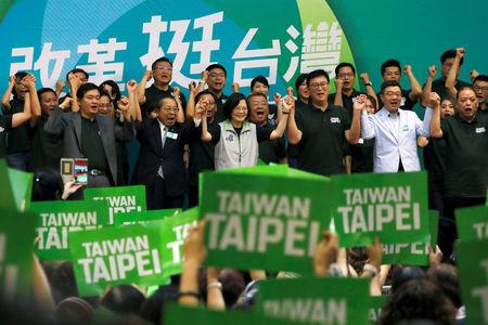 Taiwanese President Tsai Ing-wen and Democratic Progressive Party (DPP) Taipei mayoral candidate Pasuya Yao attend a mayoral and magisterial  election campaign rally, in Taipei