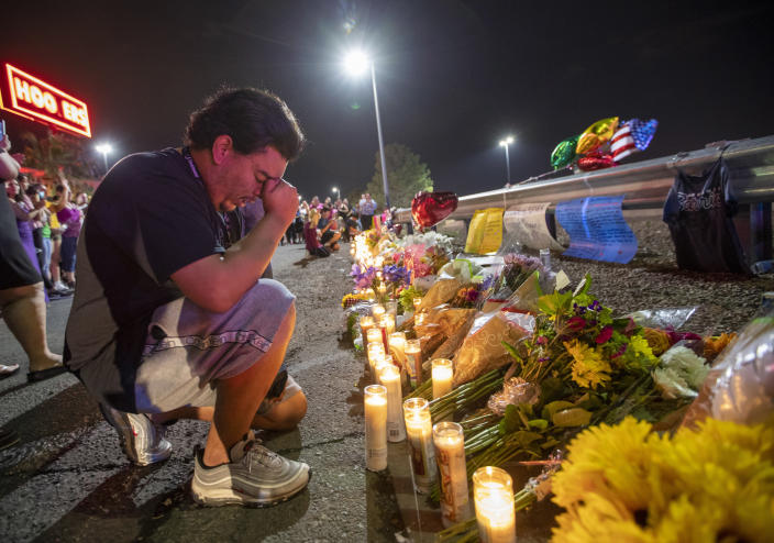 A mourner near the shooting site in El Paso, Texas. (Photo: Wang Ying/Xinhua via Getty Images)