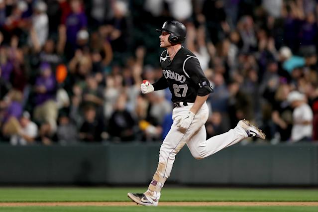 Trevor Story, now the Rockies' established shortstop, shocked the baseball world with a barrage of homers during his rookie season. (Photo by Matthew Stockman/Getty Images)