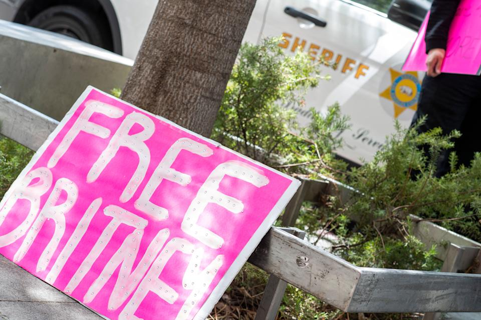 Placards are pictured in front of the courthouse during the FreeBritney movement rally in support of musician Britney Spears following a conservatorship court hearing in Los Angeles, California on April 27, 2021. Britney Spears has requested to speak in court in the legal battle over her father's control of her affairs, her attorney said on April 27, 2021.