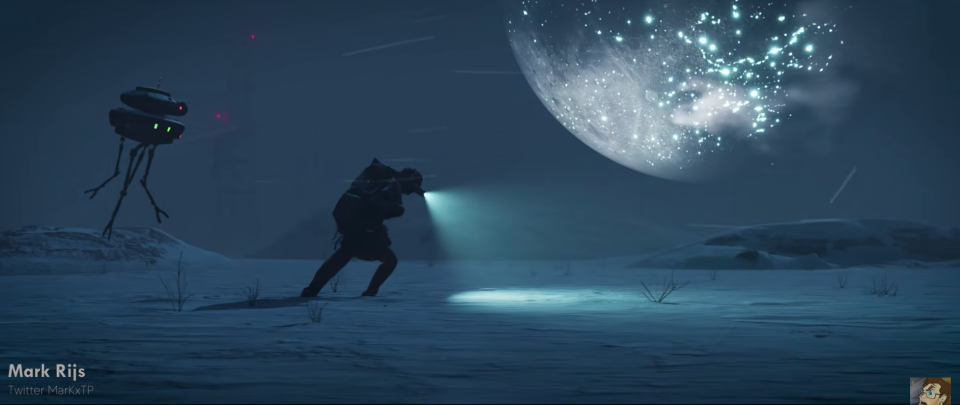 A VFX animation of someone marching forward on an unknown icy planet in the Star Wars universe.
