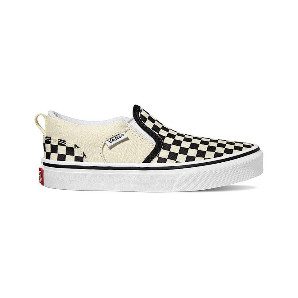 """<p><strong>Vans</strong></p><p>dsw.com</p><p><strong>$49.99</strong></p><p><a href=""""https://go.redirectingat.com?id=74968X1596630&url=https%3A%2F%2Fwww.dsw.com%2Fen%2Fus%2Fproduct%2Fvans-asher-checkered-slip-on-sneaker-womens%2F349899&sref=https%3A%2F%2Fwww.elle.com%2Ffashion%2Fshopping%2Fg36291434%2F11-mothers-day-gifts-handpicked-by-elles-market-director%2F"""" rel=""""nofollow noopener"""" target=""""_blank"""" data-ylk=""""slk:Shop Now"""" class=""""link rapid-noclick-resp"""">Shop Now</a></p><p>These classic kicks are a hit for moms and kids of any age. Easy to slip on and off and effortlessly cool. Plus, they come in sizes that fit both moms and kids.</p>"""