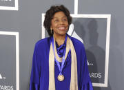 """FILE - Tania Leon appears at the 55th annual Grammy Awards in Los Angeles on Feb. 10, 2013. Leon was awarded the Pulitzer Prize for music for her work """"Stride."""" (Photo by Jordan Strauss/Invision/AP, File)"""
