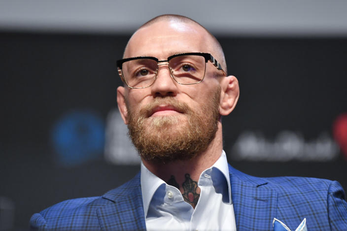 ABU DHABI, UNITED ARAB EMIRATES - JANUARY 21:  Conor McGregor interacts with media during the UFC 257 Press Conference inside Etihad Arena on UFC Fight Island on January 20, 2021 in Yas Island, Abu Dhabi, United Arab Emirates. (Photo by Chris Unger/Zuffa LLC via Getty Images)