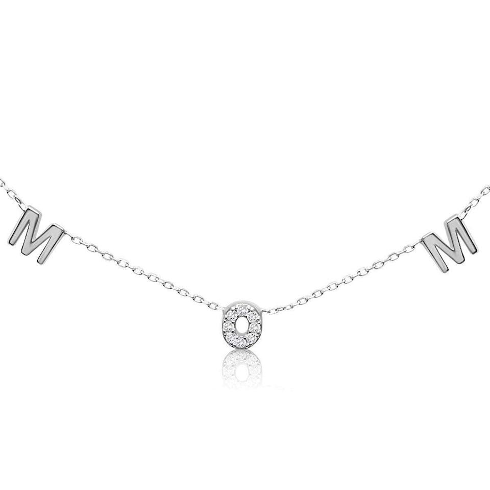 "<h2>Aleph Bet by Paula Sterling Silver ""Mom"" Choker</h2><br><br><strong>Alef Bet by Paula</strong> Mom Necklace, $, available at <a href=""https://amzn.to/2zgOWdd"" rel=""nofollow noopener"" target=""_blank"" data-ylk=""slk:Amazon Handmade"" class=""link rapid-noclick-resp"">Amazon Handmade</a>"