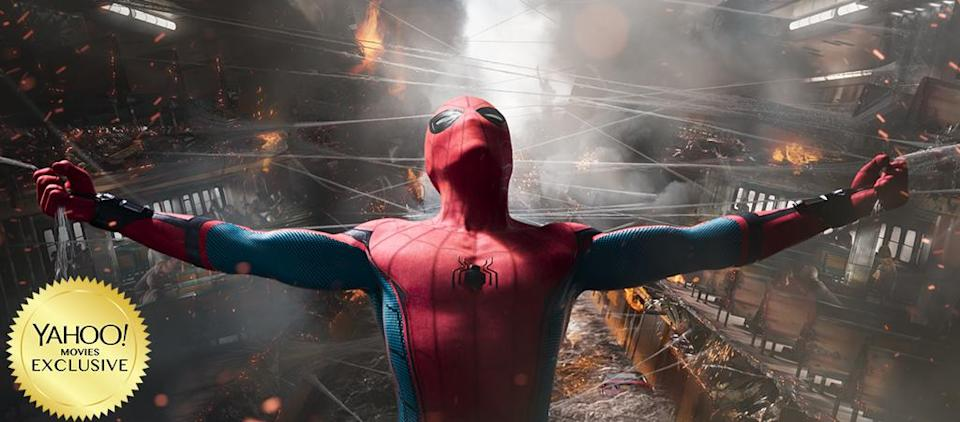 """<p><a rel=""""nofollow"""" href=""""https://www.yahoo.com/movies/tagged/marvel"""" data-ylk=""""slk:Marvel"""" class=""""link rapid-noclick-resp"""">Marvel</a> meets <a rel=""""nofollow"""" href=""""https://www.yahoo.com/movies/tagged/john-hughes"""" data-ylk=""""slk:John Hughes"""" class=""""link rapid-noclick-resp"""">John Hughes</a> in this latest reboot of the iconic web-slinger. <a rel=""""nofollow"""" href=""""https://www.yahoo.com/movies/tagged/tom-holland"""" data-ylk=""""slk:Tom Holland"""" class=""""link rapid-noclick-resp"""">Tom Holland</a> is Peter Parker, juggling high school angst with his burgeoning crime-fighting game. <a rel=""""nofollow"""" href=""""https://www.yahoo.com/movies/tagged/robert-downey-jr"""" data-ylk=""""slk:Robert Downey Jr."""" class=""""link rapid-noclick-resp"""">Robert Downey Jr.</a>'s Tony Stark plays Spidey's mentor, while <a rel=""""nofollow"""" href=""""https://www.yahoo.com/movies/tagged/michael-keaton"""" data-ylk=""""slk:Michael Keaton"""" class=""""link rapid-noclick-resp"""">Michael Keaton</a>'s Vulture is the big bad. 