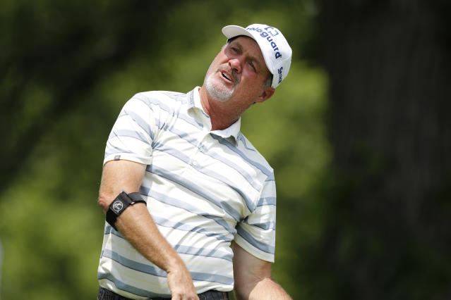 Jerry Kelly watches his shot off the third tee during the second round of the PGA Tour Champions Principal Charity Classic golf tournament, Saturday, June 1, 2019, in Des Moines, Iowa. (AP Photo/Charlie Neibergall)