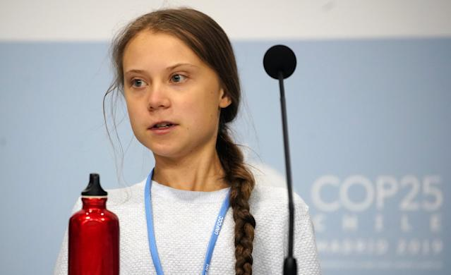 Climate change activist Greta Thunberg is on the list of the most important people of 2019, but was beaten to top spot by Donald Trump (Reuters/Juan Medina)