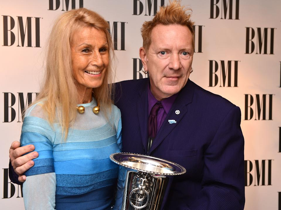 John Lydon and his wife, Nora Forster at the BMI London Awards 2013, held at the Dorchester Hotel, London, on Tuesday, October 15, 2013. (Photo by Mark Allan/Invision/AP)