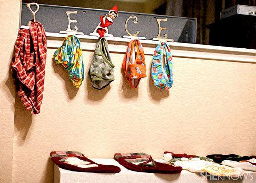 "<p>Are your stockings hung by the chimney with care? Have your elf switch them out with your silliest pairs of underwear of each family member.</p> <p>Source: <a href=""http://cdn.sheknows.com/articles/2012/11/inspiration-for-elf-on-the-shelf-day-11.jpg"" target=""_blank"">She Knows</a></p>"