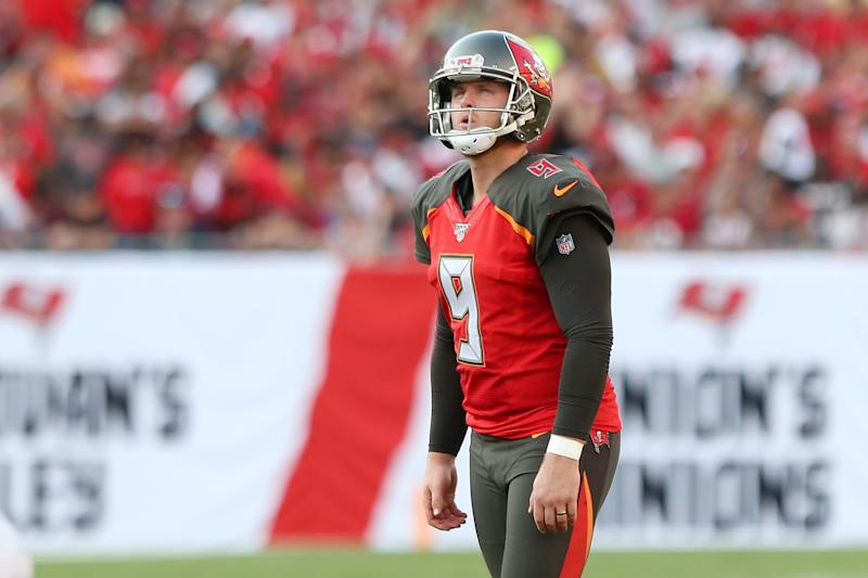 TAMPA, FL - SEP 08: Matt Gay (9) of the Bucs lines up a field goal during the regular season game between the San Francisco 49ers and the Tampa Bay Buccaneers on September 08, 2019 at Raymond James Stadium in Tampa, Florida. (Photo by Cliff Welch/Icon Sportswire via Getty Images)