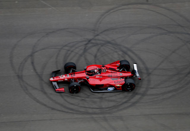 CORRECTS TO JAMES DAVISON NOT JAMES DAVIDSON - James Davison, of Australia, speeds down the main straight during a practice session for the IndyCar Indianapolis 500 auto race at Indianapolis Motor Speedway, in Indianapolis Friday, May 18, 2018. (AP Photo/Michael Conroy)