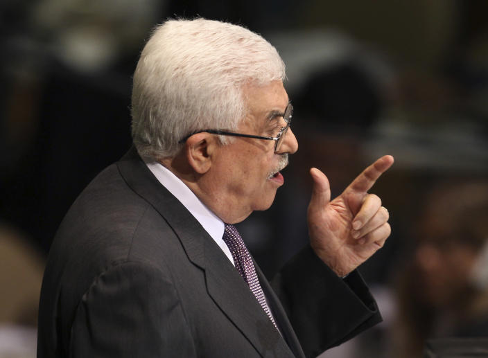 Palestinian President Mahmoud Abbas addresses the 67th session of the United Nations General Assembly at U.N. headquarters Thursday, Sept. 27, 2012. (AP Photo/Seth Wenig)