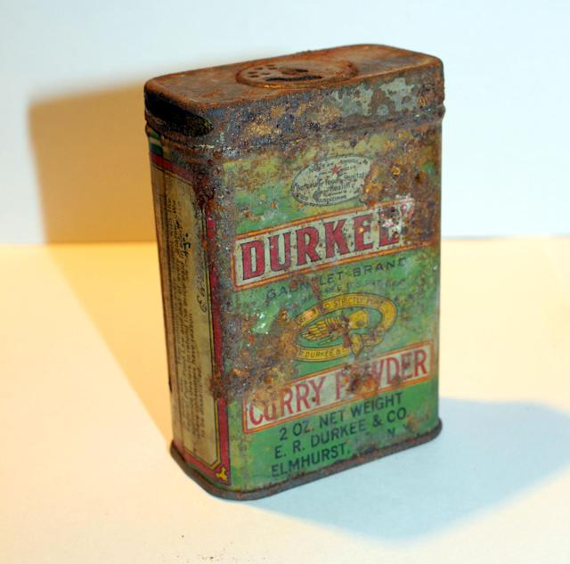 <p>This Durkees curry powder tin was found under the floorboards of an apartment in 2008. (Photo: Caters News) </p>