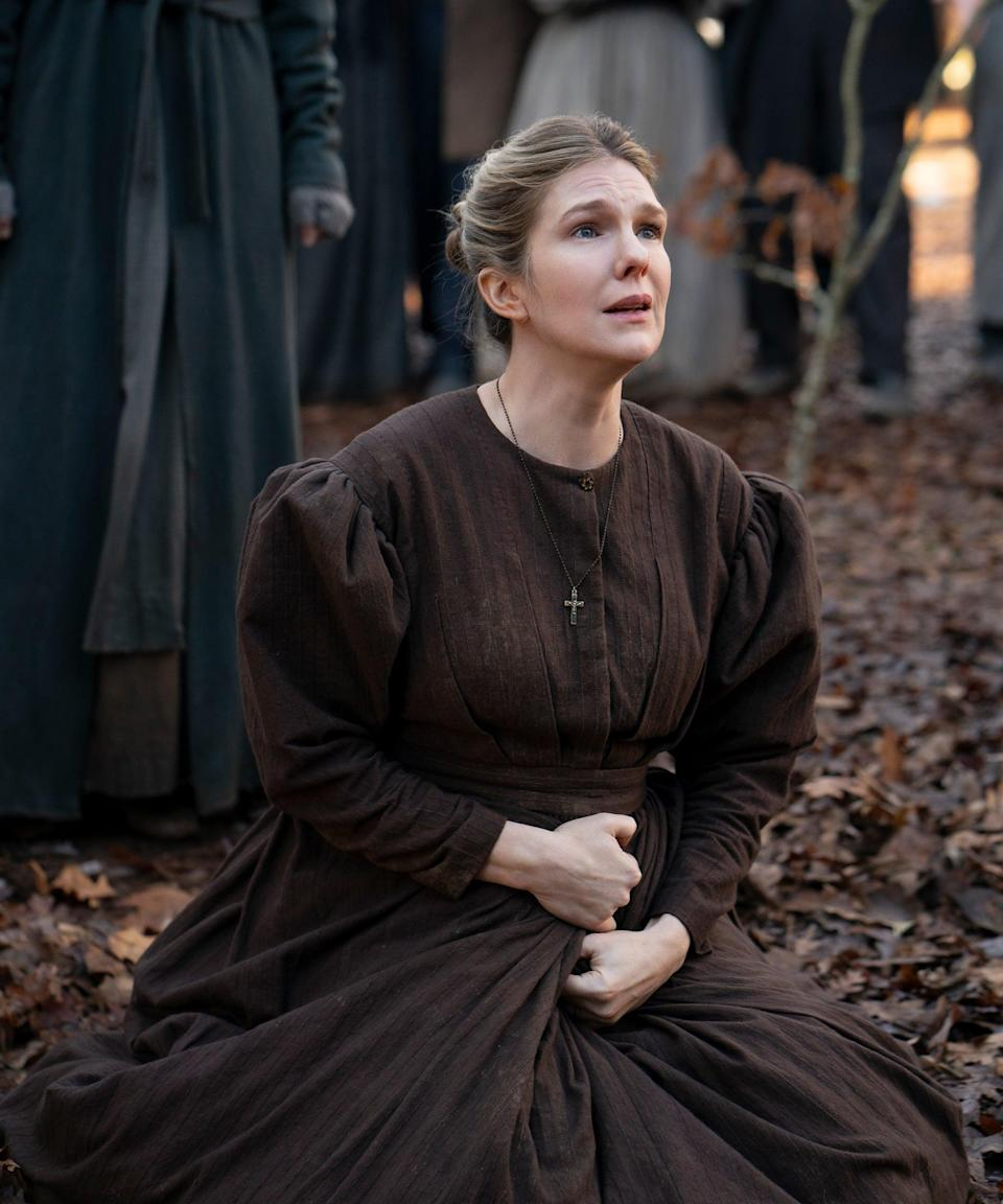 """<h2>Lily Rabe plays Ethel<br></h2><br>Ethel is Martin's wife and the unwilling holder of his secret effort to help slaves travel through the Underground Railroad. Despite living with Cora and Grace, another slave who secretly takes residence in their home thanks to Martin, Ethel considers them beneath her and sub-human. Her faith in God is the only thing helping her cope with keeping their secret.<br><br>Rabe has remained a staple in <a href=""""https://www.refinery29.com/en-us/2014/03/64432/american-horror-story-season-4-cast-rumors"""" rel=""""nofollow noopener"""" target=""""_blank"""" data-ylk=""""slk:Ryan Murphy's"""" class=""""link rapid-noclick-resp"""">Ryan Murphy's </a><em><a href=""""https://www.refinery29.com/en-us/2014/03/64432/american-horror-story-season-4-cast-rumors"""" rel=""""nofollow noopener"""" target=""""_blank"""" data-ylk=""""slk:American Horror Story"""" class=""""link rapid-noclick-resp"""">American Horror Story</a></em><a href=""""https://www.refinery29.com/en-us/2014/03/64432/american-horror-story-season-4-cast-rumors"""" rel=""""nofollow noopener"""" target=""""_blank"""" data-ylk=""""slk:anthology series"""" class=""""link rapid-noclick-resp""""> anthology series</a>, portraying several different characters since the show's inception in 2010. She's also starred in the TV series <em>Legion</em> and <em><a href=""""https://www.refinery29.com/en-us/2020/12/10204594/mystery-shows-like-the-undoing-hbo"""" rel=""""nofollow noopener"""" target=""""_blank"""" data-ylk=""""slk:The Undoing"""" class=""""link rapid-noclick-resp"""">The Undoing</a></em> and in numerous stage productions, most notably Shakespearean works.<span class=""""copyright"""">Photo: Courtesy of Amazon Studios.</span>"""