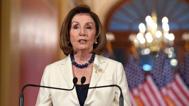 PHOTO: Speaker of the House Nancy Pelosi speaks about the impeachment inquiry of President Donald Trump at the Capitol in Washington, D.C., Dec. 5, 2019. (Saul Loeb/AFP via Getty Images)