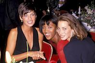 <p>With fellow famous faces Naomi Campbell and Christy Turlington at the Night of 100 Stars Gala in 1989 in N.Y.C.</p>