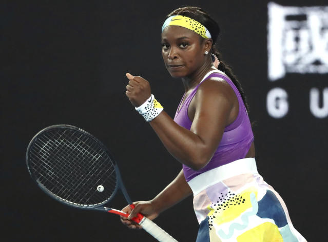 United States' Sloane Stephens reacts during her first round match against China's Zhang Shuai at the Australian Open tennis championship in Melbourne, Australia, Monday, Jan. 20, 2020. (AP Photo/Dita Alangkara)
