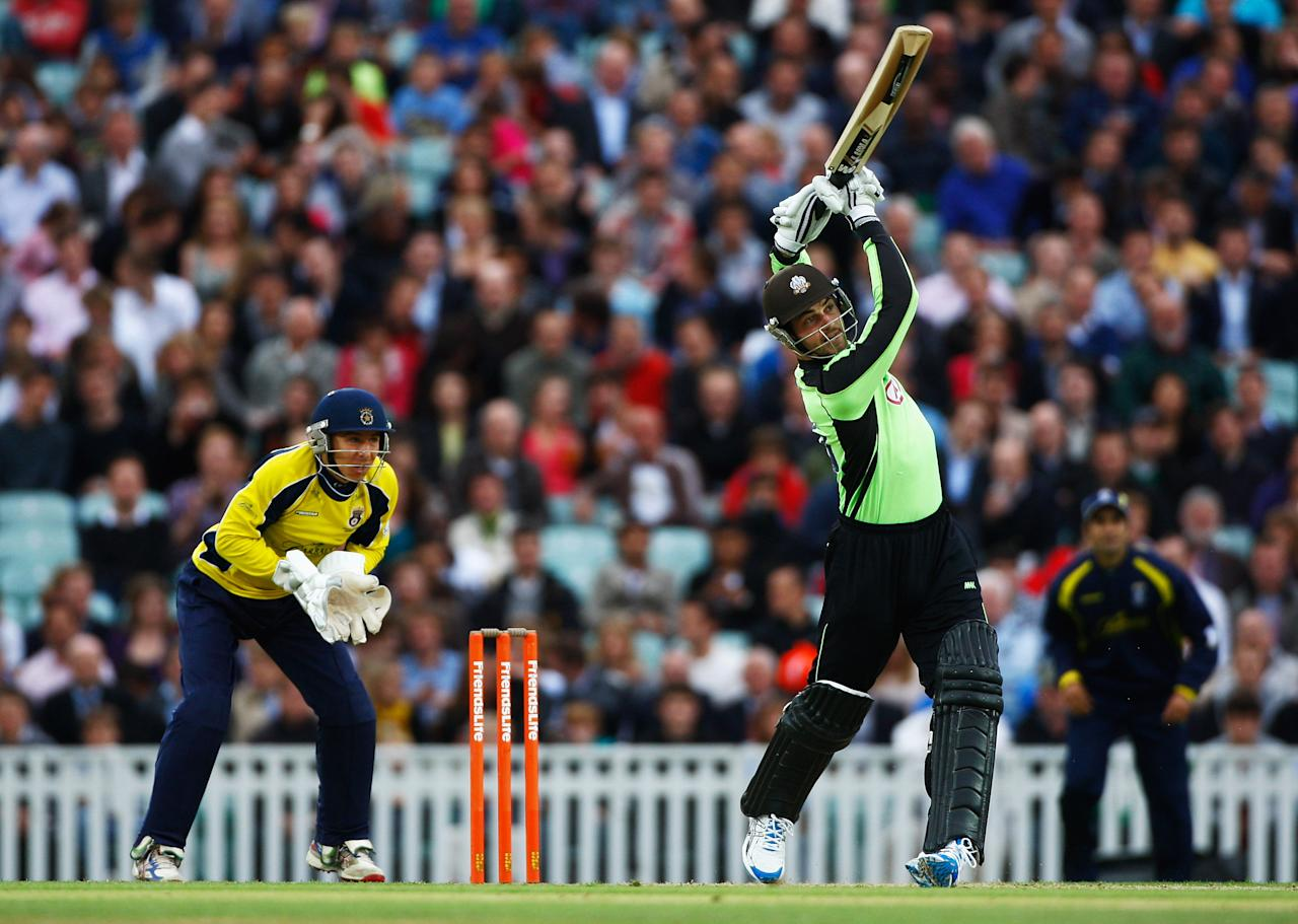 LONDON, ENGLAND - JULY 08: Tom Maynard of Surrey hits out during the Friends Life T20 match between Surrey and Hampshire at The Kia Oval on July 8, 2011 in London, England.  (Photo by Harry Engels/Getty Images)