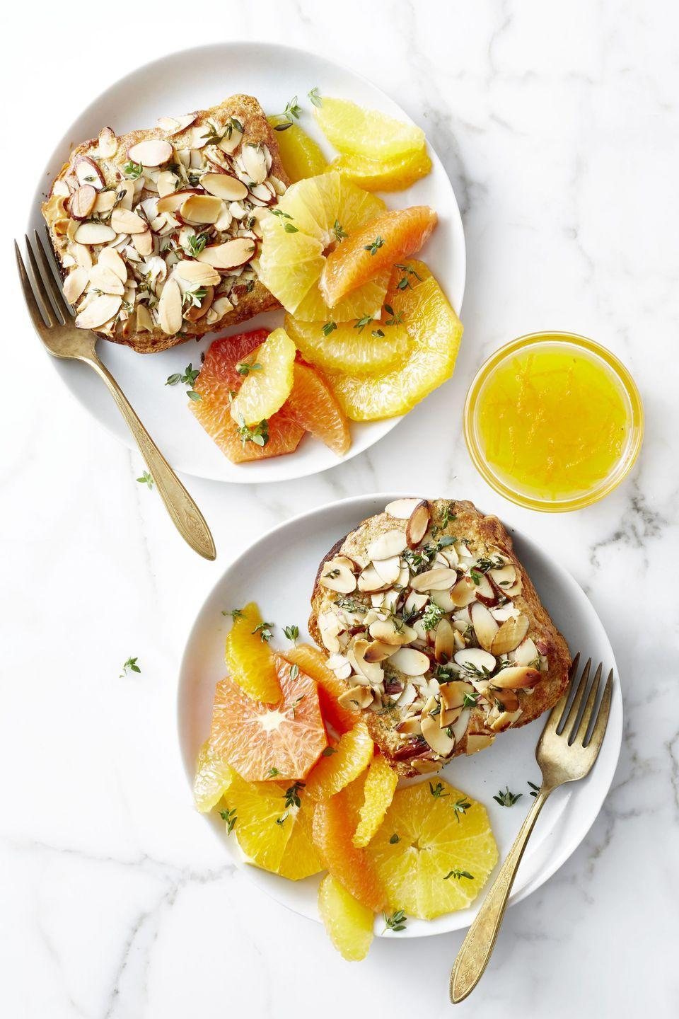 "<p>Look no further than this citrusy, almond French toast for an easy brunch idea that will wake you right up.</p><p><em><a href=""https://www.goodhousekeeping.com/food-recipes/a46689/twice-baked-citrus-almond-brioche/"" rel=""nofollow noopener"" target=""_blank"" data-ylk=""slk:Get the recipe for Twice-Baked Citrus-Almond Brioche »"" class=""link rapid-noclick-resp"">Get the recipe for Twice-Baked Citrus-Almond Brioche »</a></em> </p>"