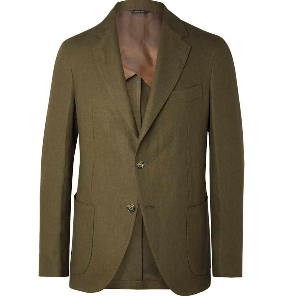 """<p><strong>Loro Piana</strong></p><p>mrporter.com</p><p><strong>$2495.00</strong></p><p><a href=""""https://go.redirectingat.com?id=74968X1596630&url=https%3A%2F%2Fwww.mrporter.com%2Fen-us%2Fmens%2Fproduct%2Floro-piana%2Fclothing%2Fsingle-breasted-blazers%2Fnavy-slim-fit-unstructured-linen-blazer%2F9679066508584009&sref=https%3A%2F%2Fwww.townandcountrymag.com%2Fstyle%2Fg33337530%2Fthe-weekly-covet-july-17-2020%2F"""" rel=""""nofollow noopener"""" target=""""_blank"""" data-ylk=""""slk:Shop Now"""" class=""""link rapid-noclick-resp"""">Shop Now</a></p><p>""""Simple, striking, and suave. Perfect for summer, too. Of course it's Loro Piana.""""—<em>Erik Maza, Style Features Director</em></p>"""
