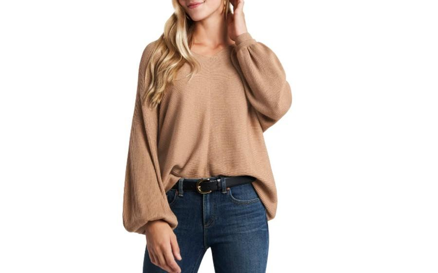 1.State Ribbed Balloon Sleeve Cotton Blend Sweater - $40 (originally $69)