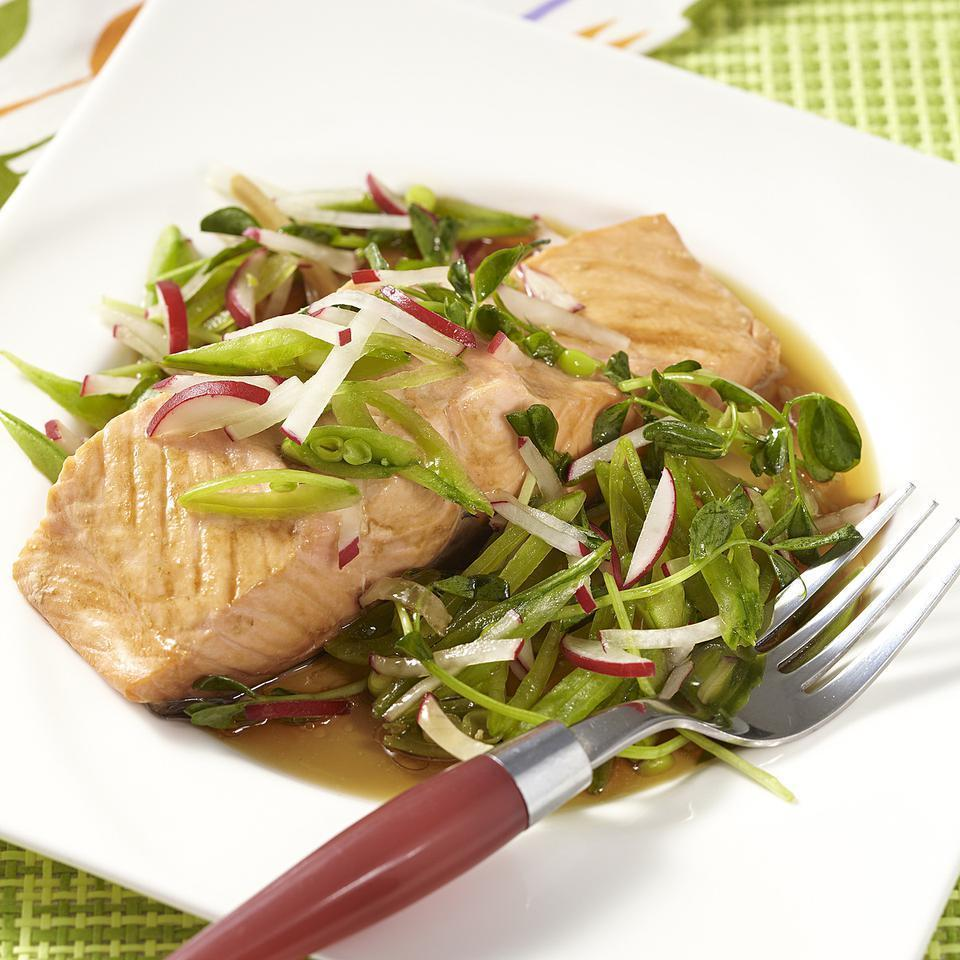 "<p>Poaching fish with a little flavorful liquid may be the easiest way to cook fish! This quick poached-fish recipe stars salmon, but tuna, mahi-mahi or cod work just as well. Look for pea sprouts, also called ""pea shoots,"" at farmers' markets and in well-stocked supermarkets. Or use 1 more cup thinly sliced snap peas instead. <a href=""http://www.eatingwell.com/recipe/250675/mirin-poached-salmon-with-spring-salad/"" rel=""nofollow noopener"" target=""_blank"" data-ylk=""slk:View recipe"" class=""link rapid-noclick-resp""> View recipe </a></p>"