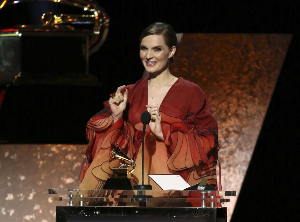 """Hildur Gudnadottir accepts the award for best score soundtrack for visual media for """"Chernobyl"""" at the 62nd annual Grammy Awards on Sunday, Jan. 26, 2020, in Los Angeles. (Photo by Matt Sayles/Invision/AP)"""