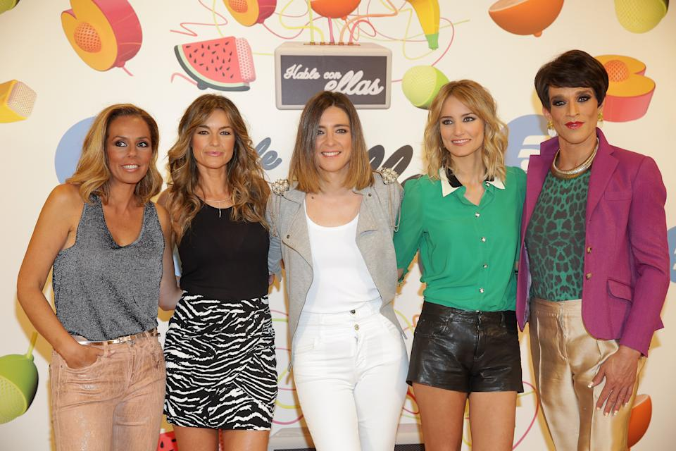 MADRID, SPAIN - JULY 15:  (L-R) Rocio Carrasco, Monica Martinez, Sandra Barneda, Alba Carrillo and Soledad Leon de Salazar attend 'Hable Con Ellas' Tv show presentation at Telecinco on July 15, 2016 in Madrid, Spain.  (Photo by Europa Press/Europa Press via Getty Images)