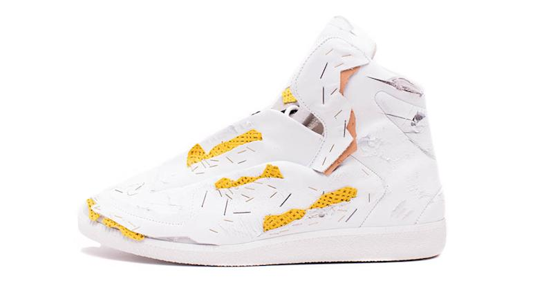 Future Destroyed High-Top Sneaker, White/Yellow