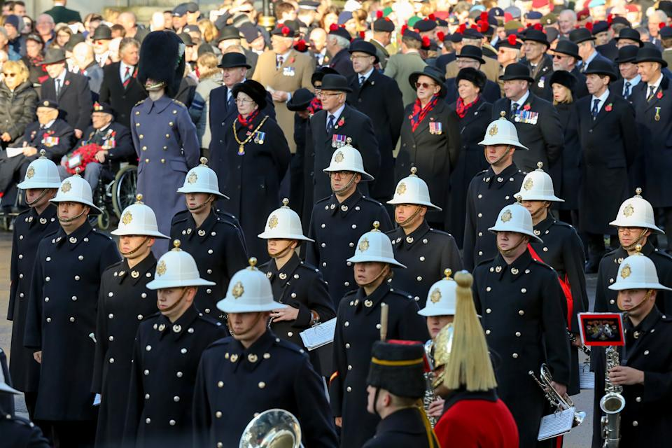 Soldiers are seen during the annual Remembrance Sunday memorial at The Cenotaph, in Whitehall, London. (Photo by Steve Taylor / SOPA Images/Sipa USA)