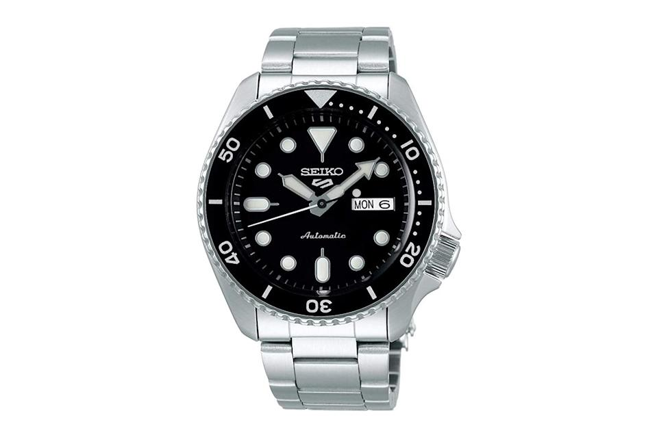 "$222, Amazon. <a href=""https://www.amazon.com/Seiko-Watch-SRPD55K1-Steel-Automatic/dp/B07Y55CGXK/ref=sr_1_9?dchild=1&keywords=seiko+5&qid=1599575371&sr=8-9"" rel=""nofollow noopener"" target=""_blank"" data-ylk=""slk:Get it now!"" class=""link rapid-noclick-resp"">Get it now!</a>"