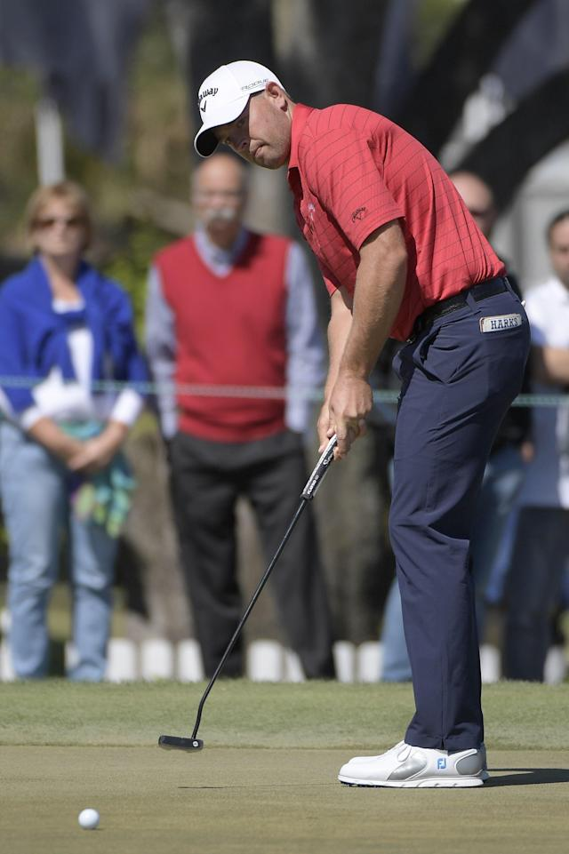 Brandon Harkins watches his putt on the ninth green during the first round of the Arnold Palmer Invitational golf tournament Thursday, March 15, 2018, in Orlando, Fla. (AP Photo/Phelan M. Ebenhack)