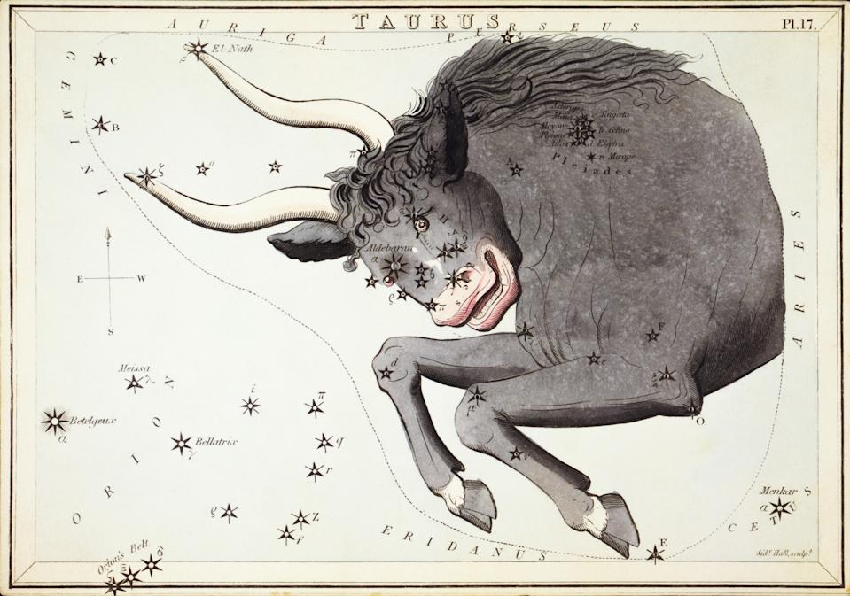 Taurus Card Number 17 from Uranias Mirror, or A View of the Heavens, one of a set of 32 astronomical star chart cards engraved by Sidney Hall and publshed 1824. (Photo by: Universal History Archive/Universal Images Group via Getty Images)