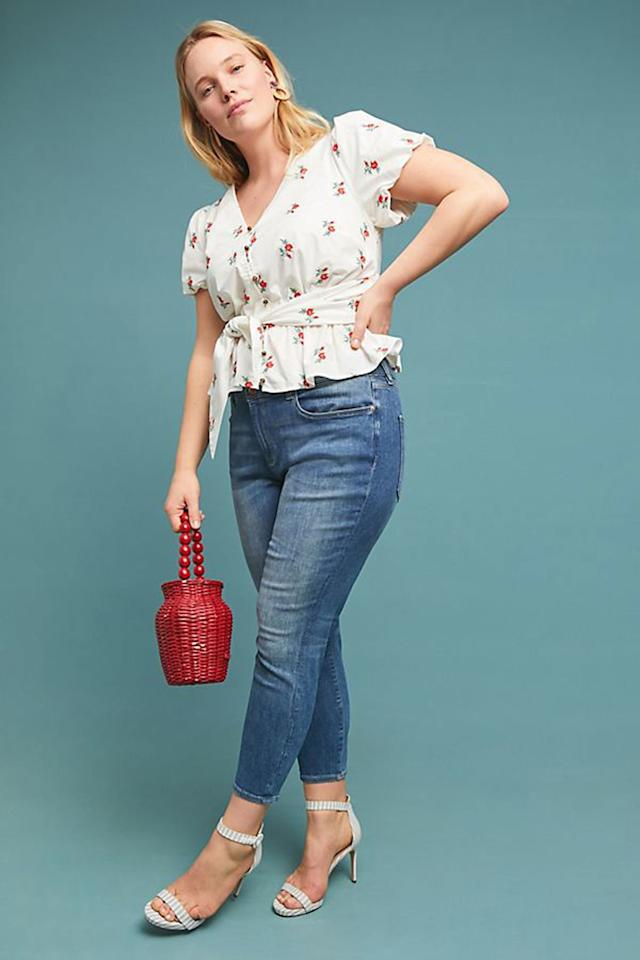 """$178, Anthropologie. <a rel=""""nofollow"""" href=""""https://www.anthropologie.com/shop/dl1961-florence-instasculpt-mid-rise-cropped-skinny-jeans?category=plus-size-jeans&color=093&type=PLUS&viewcode=c"""">Get it now!</a>"""